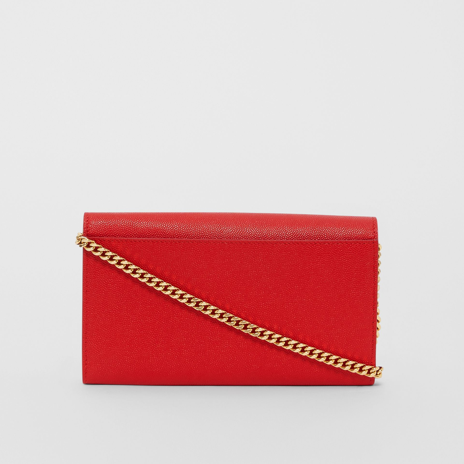 Monogram Motif Leather Wallet with Detachable Strap in Bright Red - Women | Burberry - gallery image 5