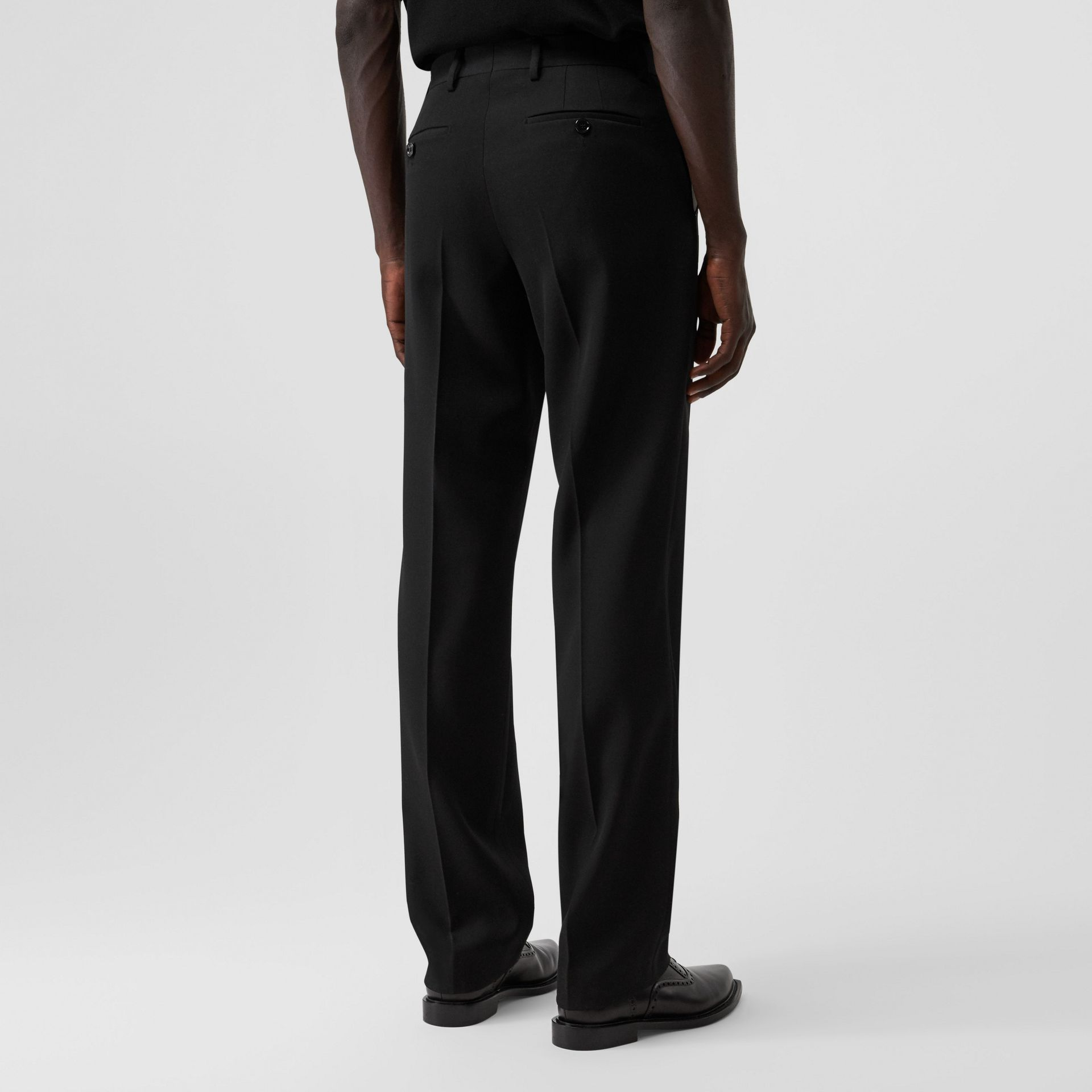 English Fit Pocket Detail Wool Tailored Trousers in Black | Burberry - gallery image 2