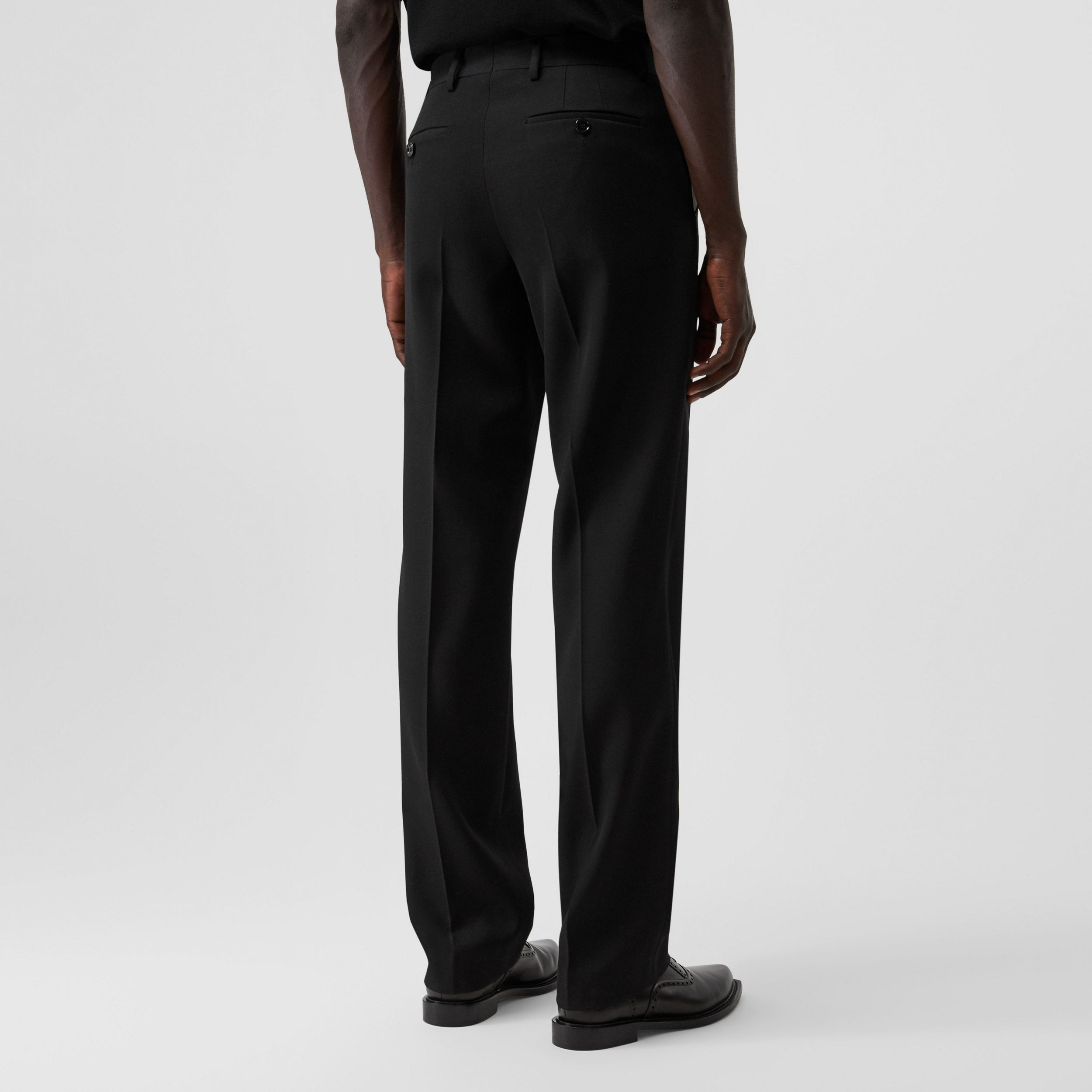 English Fit Pocket Detail Wool Tailored Trousers in Black - Men | Burberry - 3