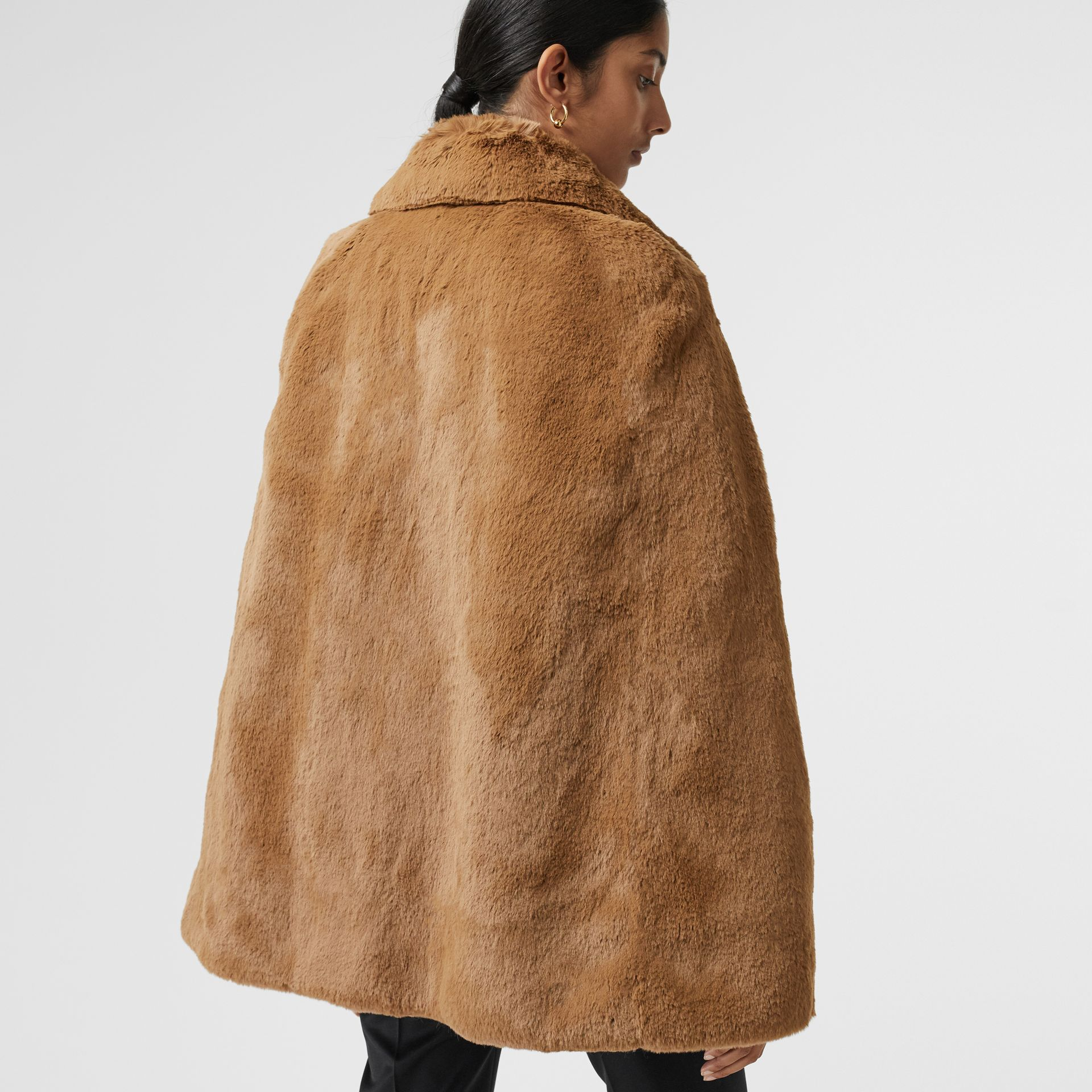 Faux Fur Cape in Camel - Women | Burberry United States - gallery image 2