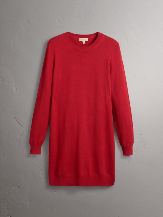 Check Elbow Detail Merino Wool Sweater Dress in Parade Red - Women | Burberry - cell image 3