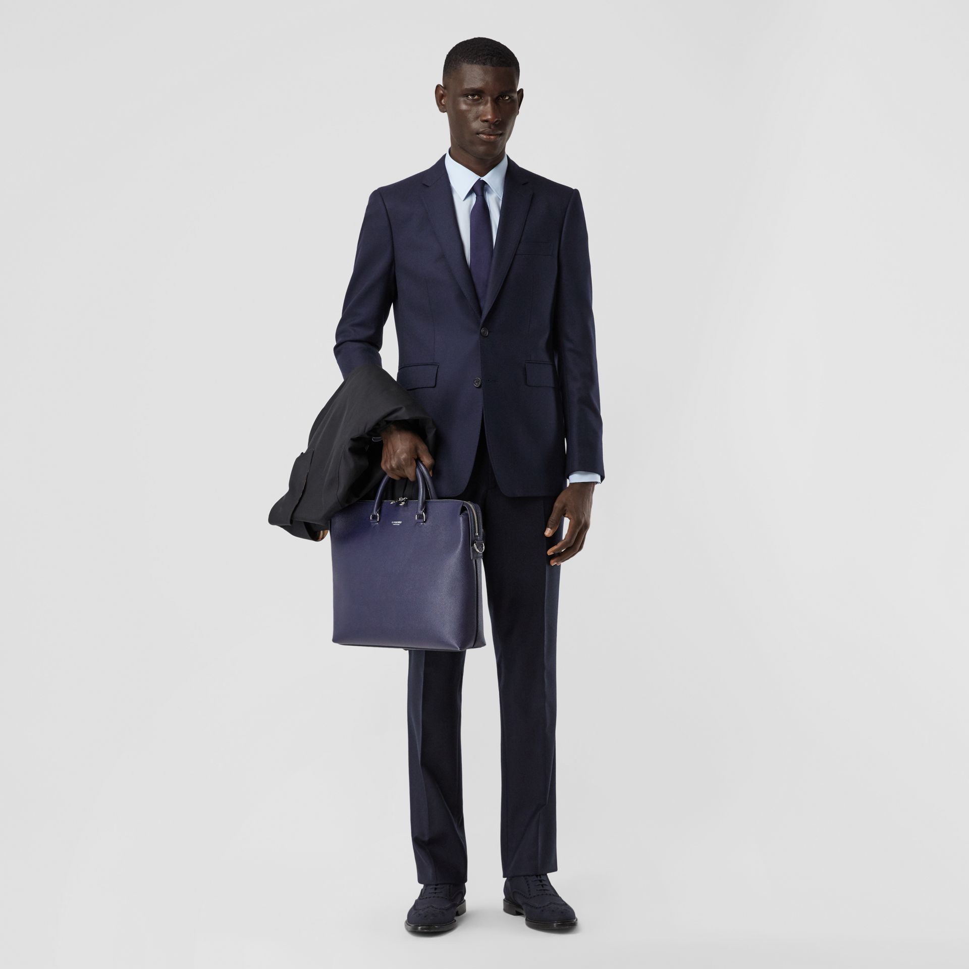 Classic Fit Wool Flannel Tailored Trousers in Navy - Men | Burberry - gallery image 0