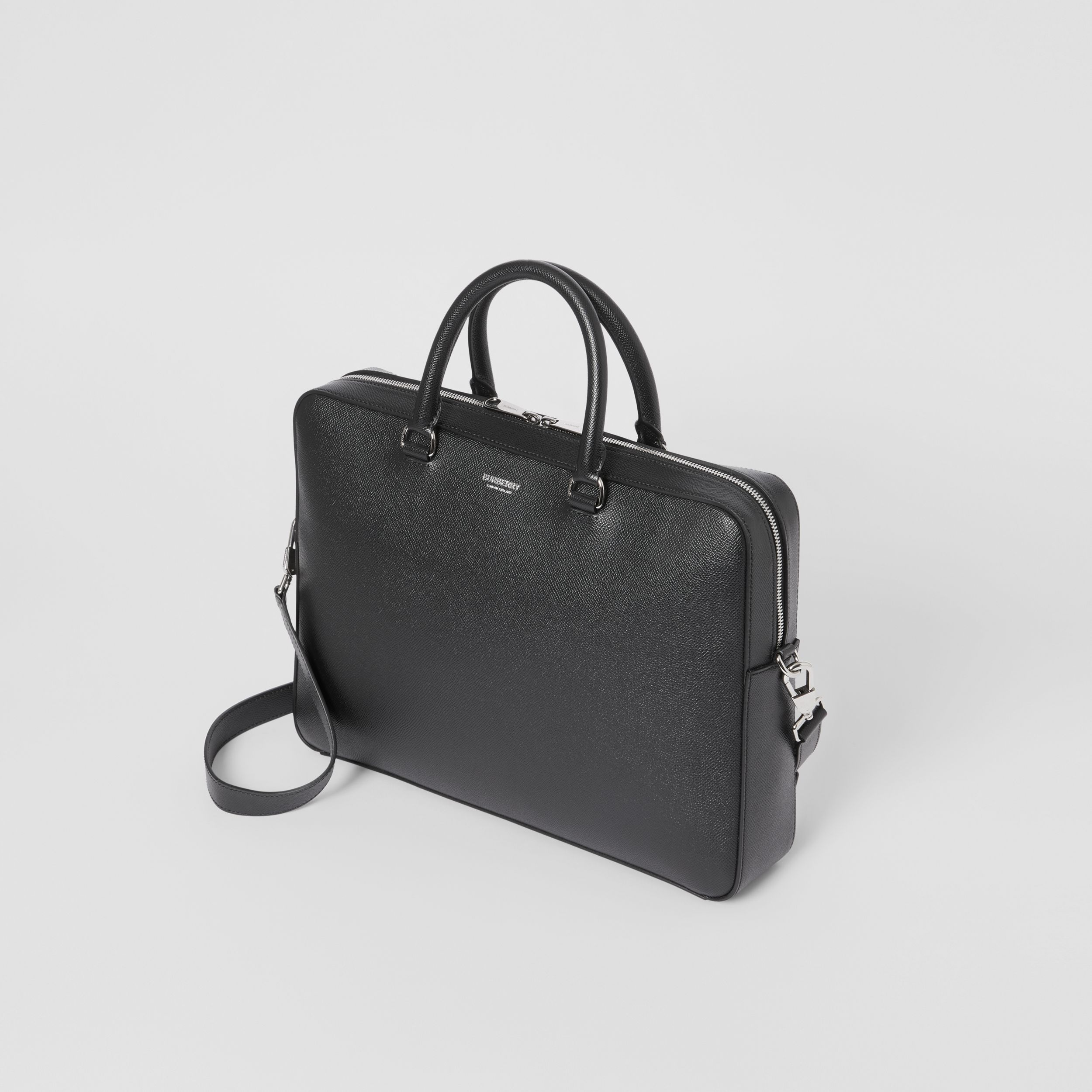 Grainy Leather Briefcase in Black - Men | Burberry - 4