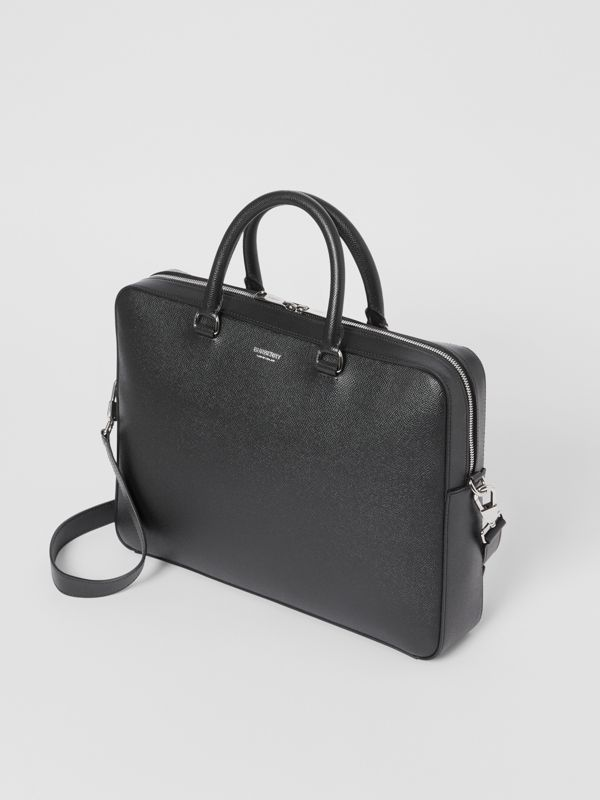 Grainy Leather Briefcase in Black - Men | Burberry - cell image 3