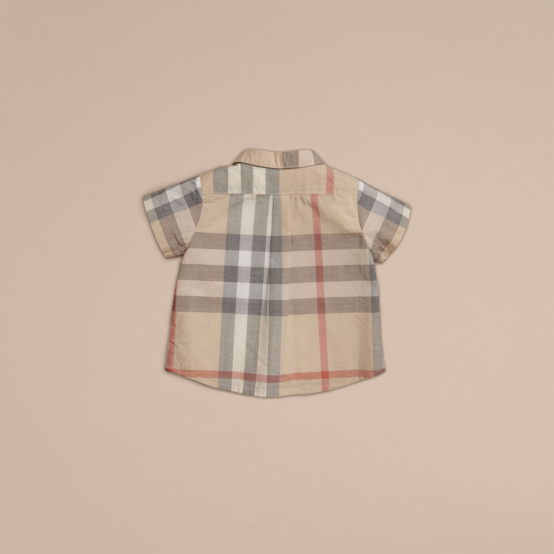 Pale classic check Washed Check Cotton Short Sleeve Shirt - gallery image 2