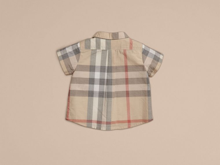 Washed Check Cotton Short Sleeve Shirt in Pale Classic - Boy | Burberry - cell image 1