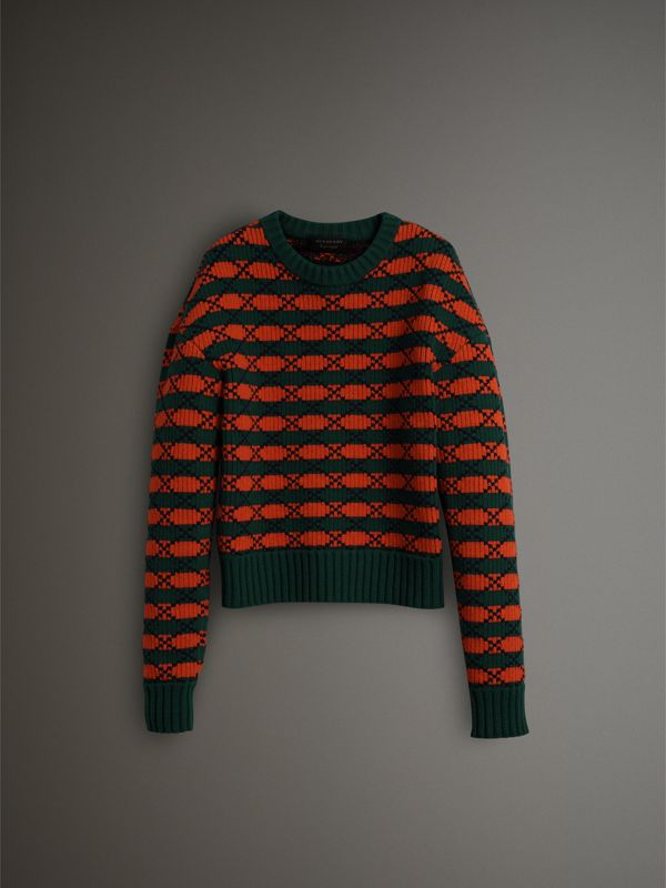 Geometric Wool Cotton Blend Sculptural Sweater in Multicolour - Men | Burberry - cell image 3