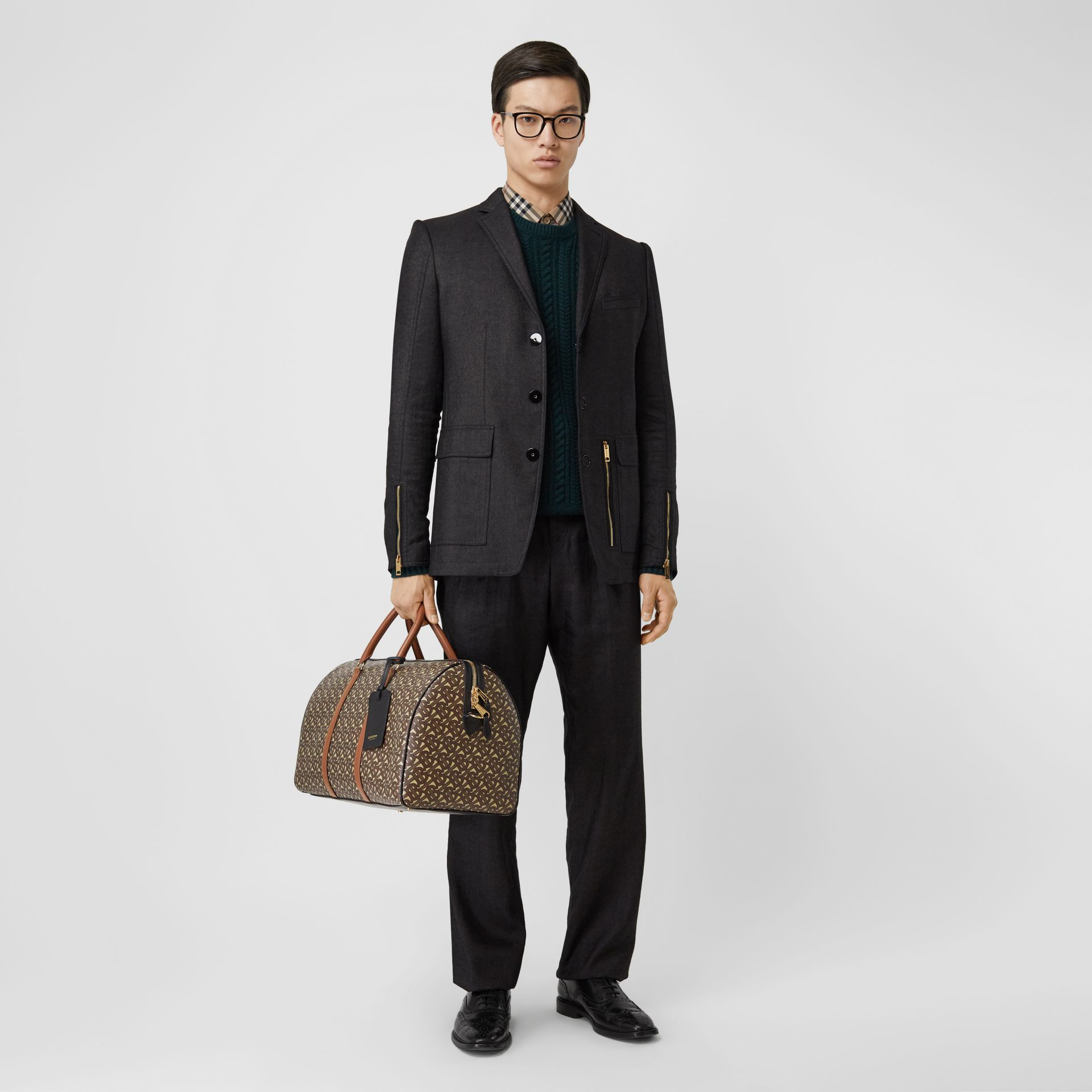 Monogram Print E-canvas and Leather Holdall in Bridle Brown - Men | Burberry - gallery image 2
