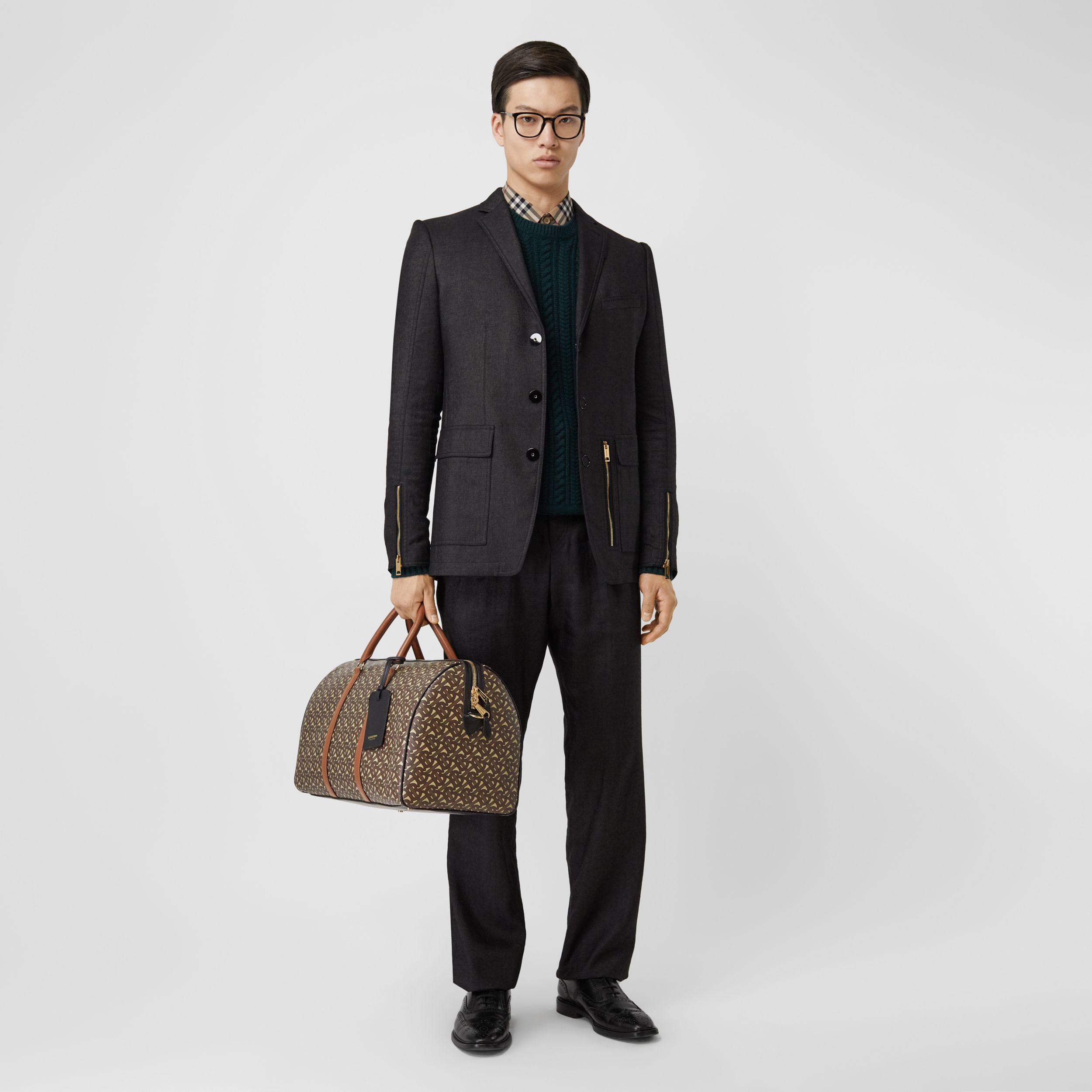 Monogram Print E-canvas and Leather Holdall in Bridle Brown - Men | Burberry - 3