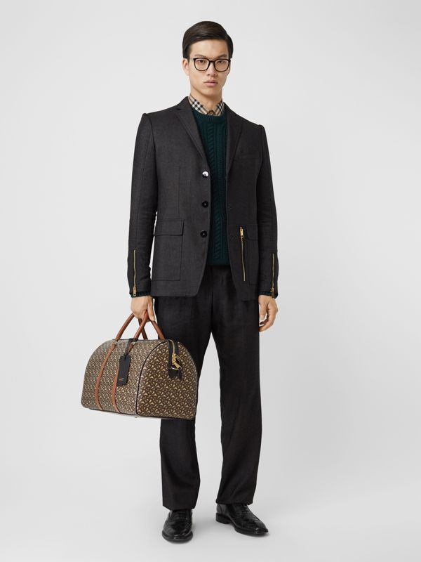 Monogram Print E-canvas and Leather Holdall in Bridle Brown - Men | Burberry - cell image 2