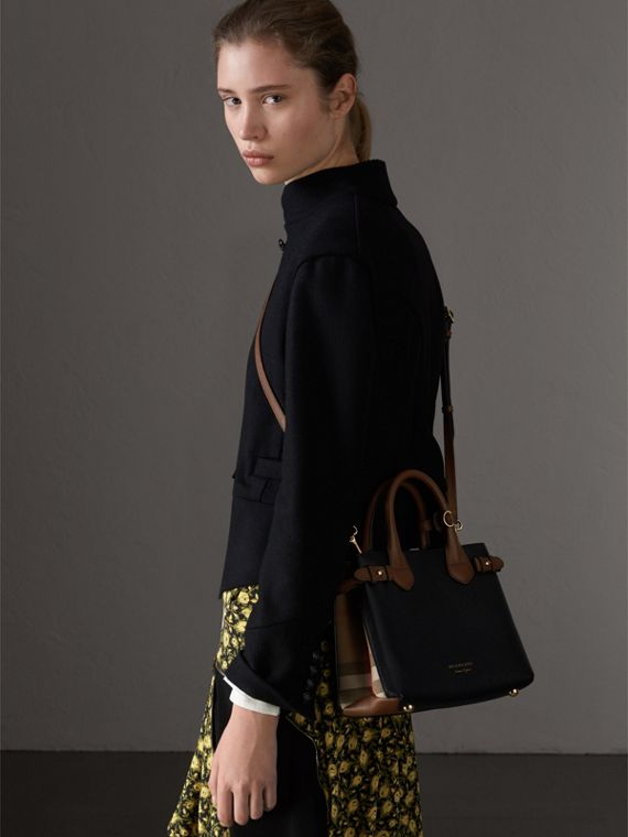 The Small Banner in Leather and House Check in Black/tan - Women | Burberry - cell image 3