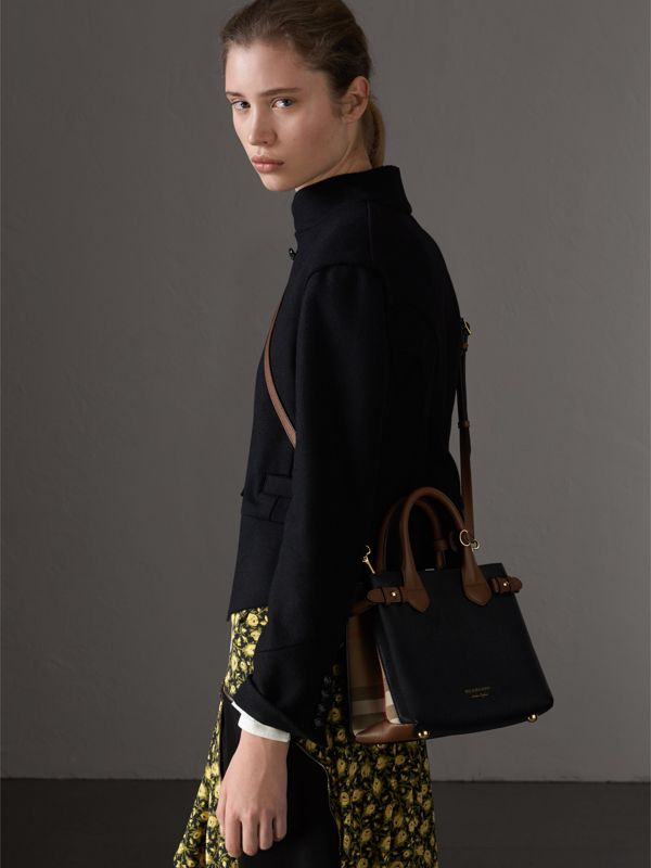 The Small Banner in Leather and House Check in Black/tan - Women | Burberry Hong Kong - cell image 3