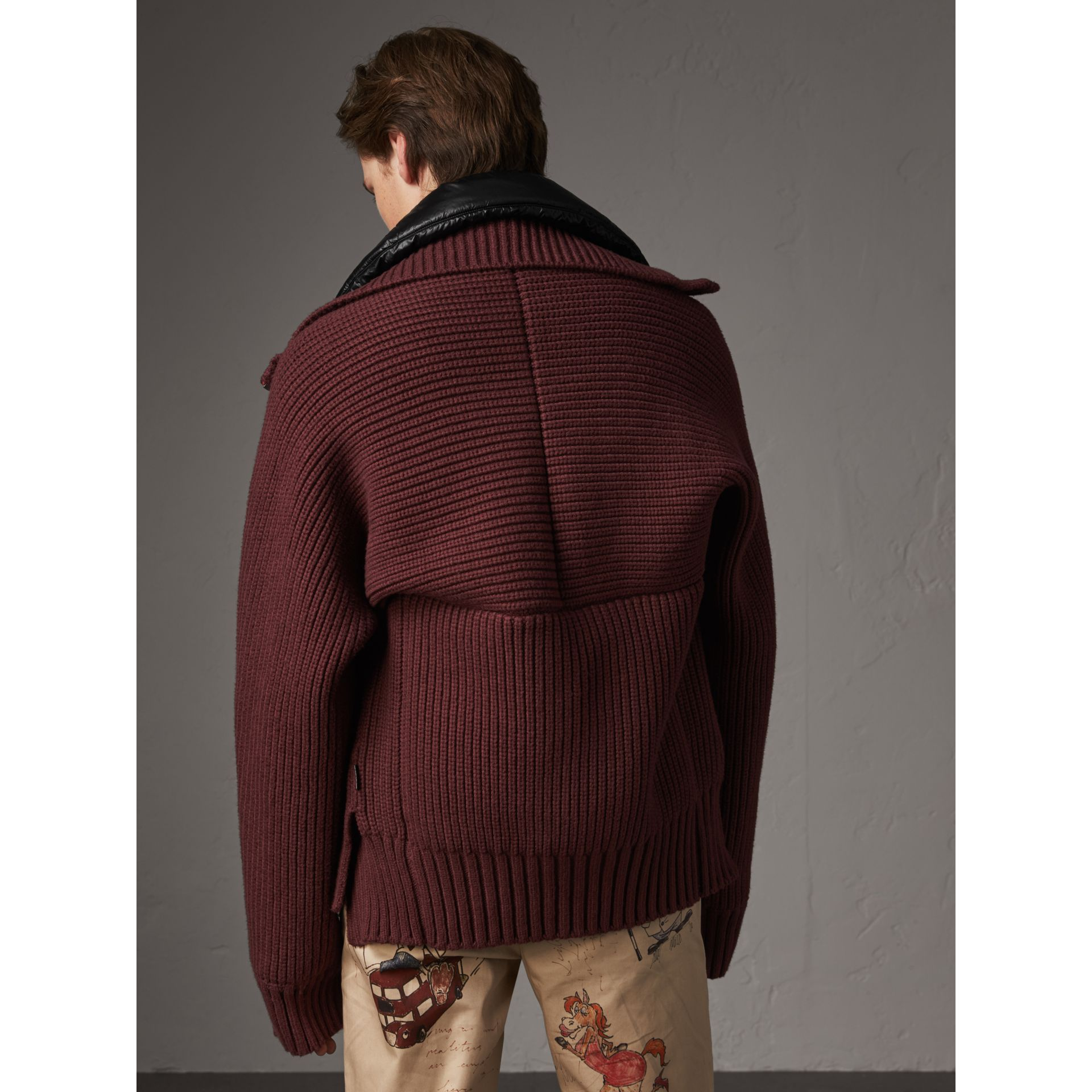 Rib Knit Cotton Blend Jacket with Down-filled Gilet in Mahogany Red - Men | Burberry - gallery image 3
