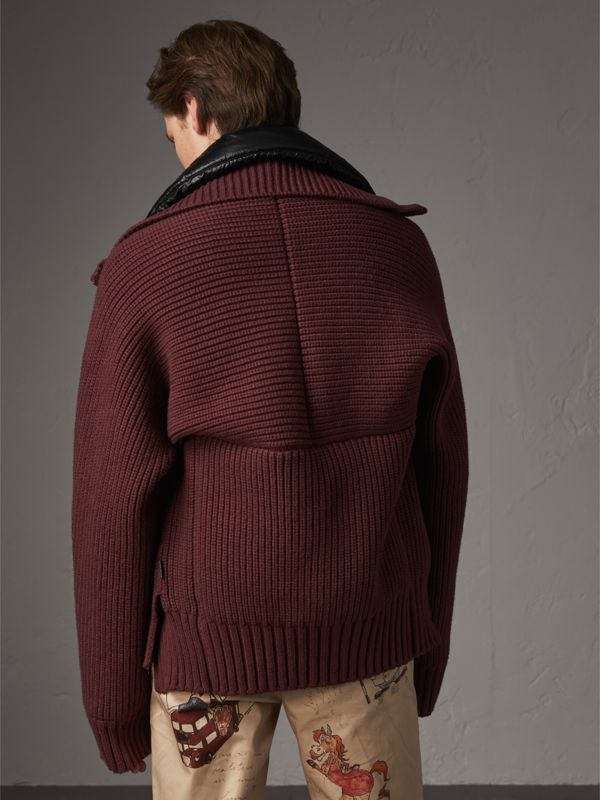 Rib Knit Cotton Blend Jacket with Down-filled Gilet in Mahogany Red - Men | Burberry - cell image 2