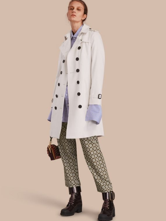 Sandringham Fit Cashmere Trench Coat White
