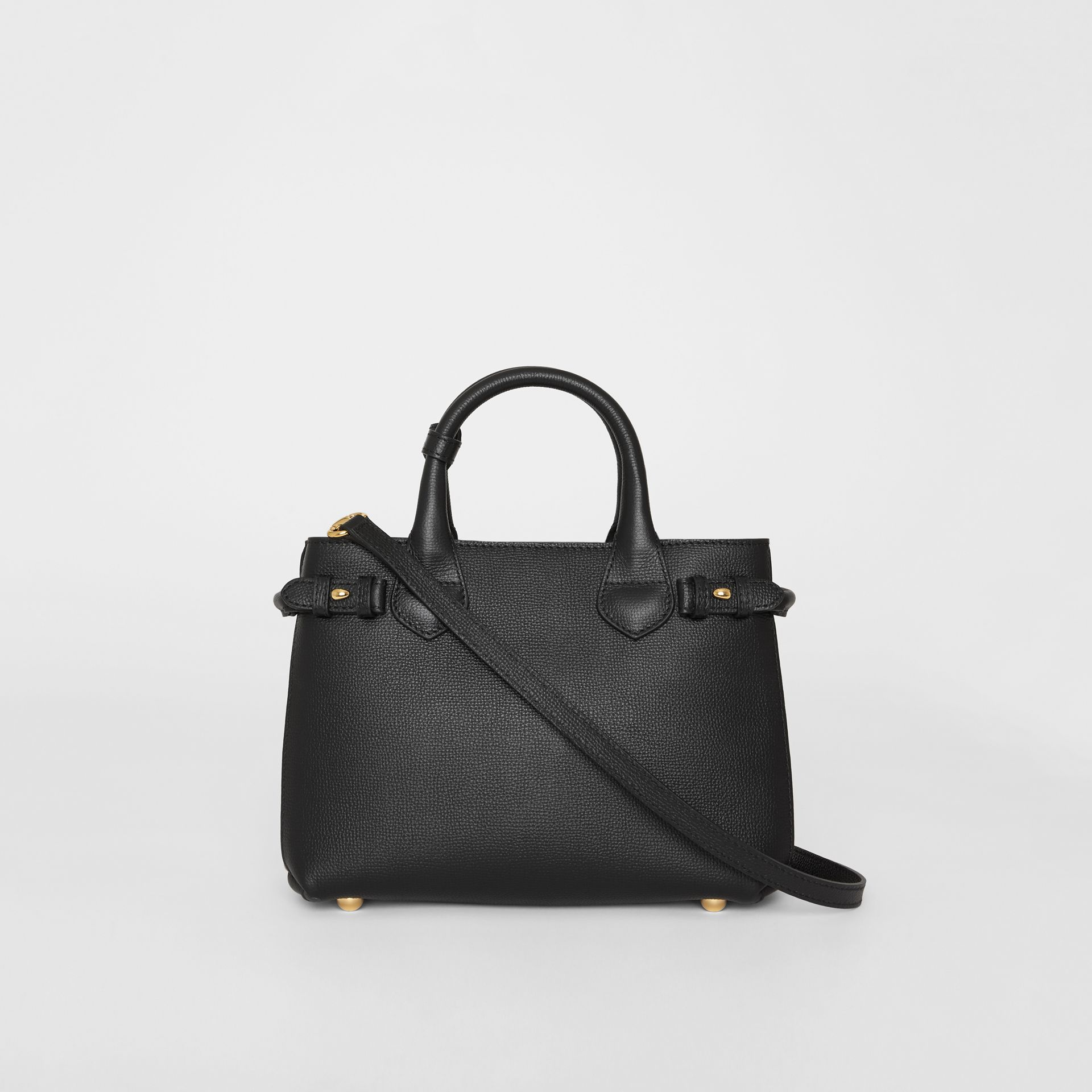 The Small Banner in Leather and House Check in Black - Women | Burberry United Kingdom - gallery image 7