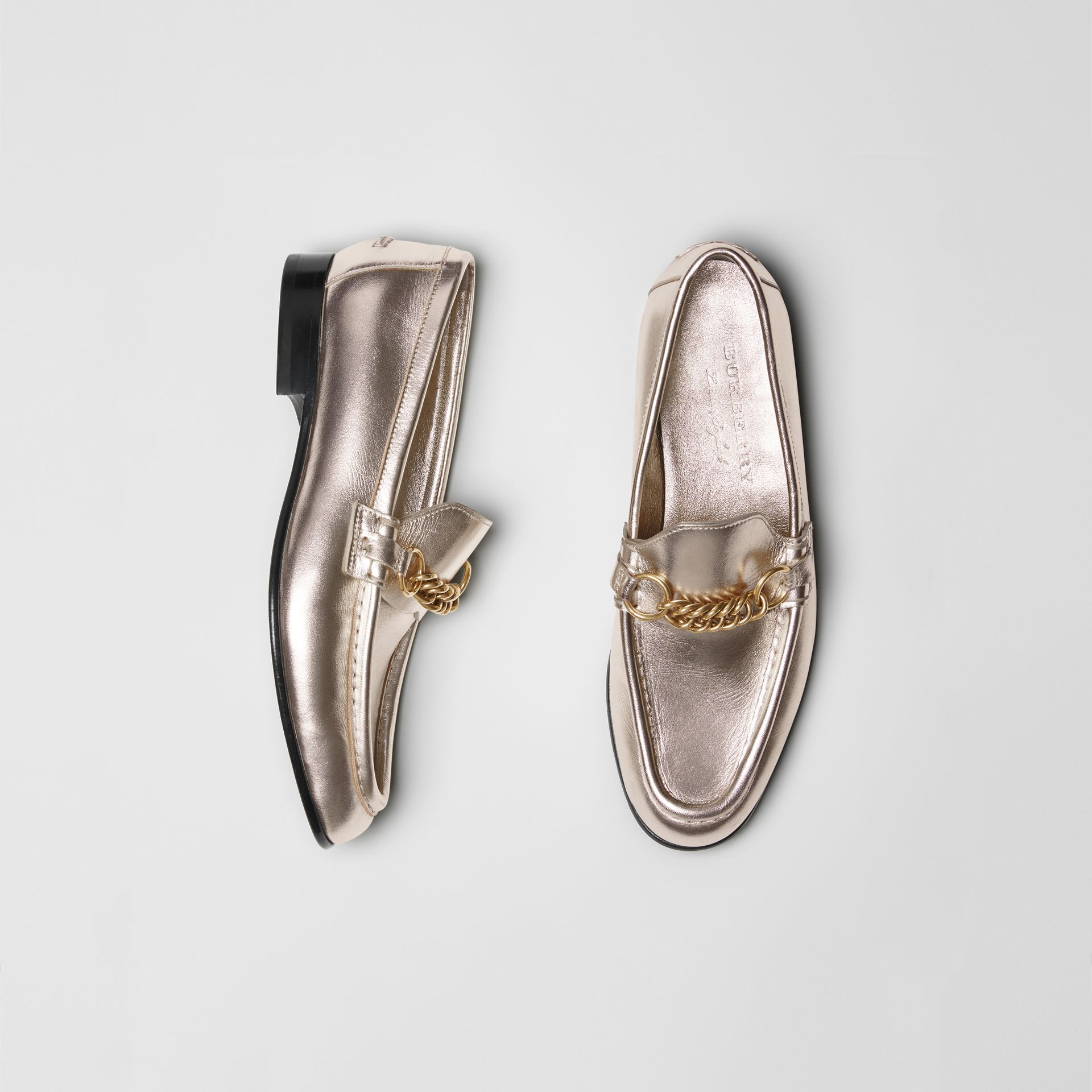 The Metallic Leather Link Loafer in Light Gold - Women | Burberry - gallery image 0