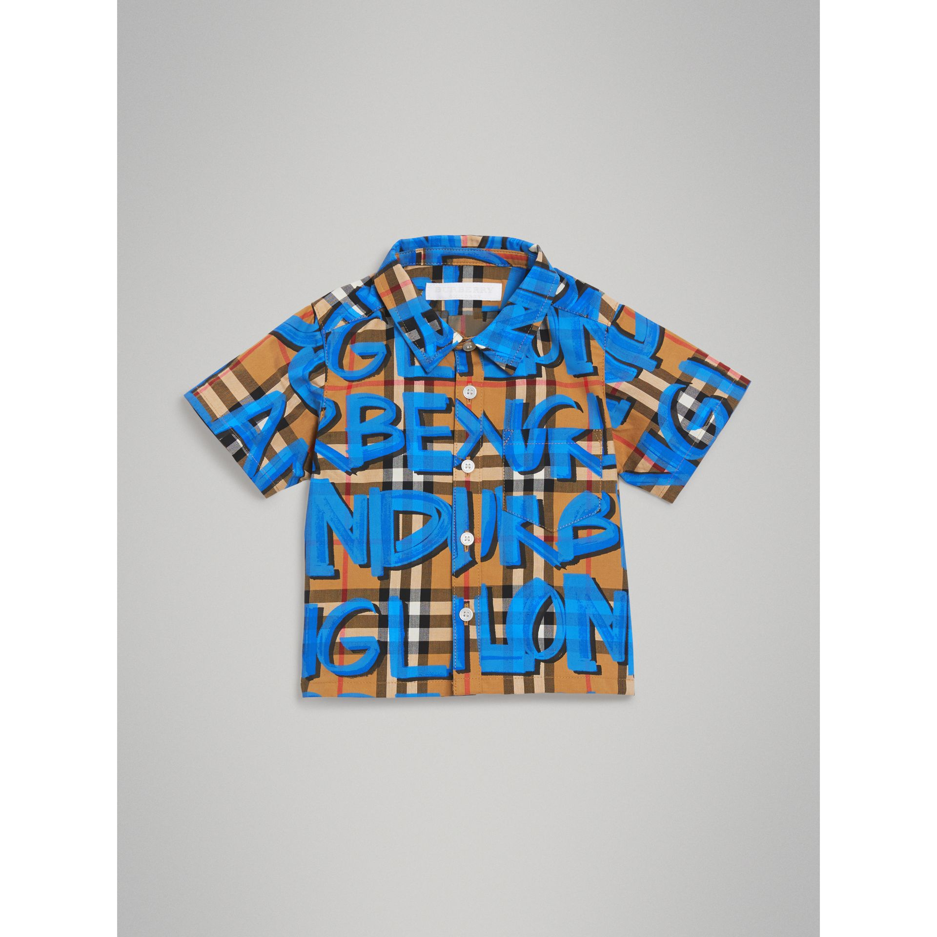 Graffiti Print Cotton Three-piece Baby Gift Set in Bright Blue - Children | Burberry - gallery image 2