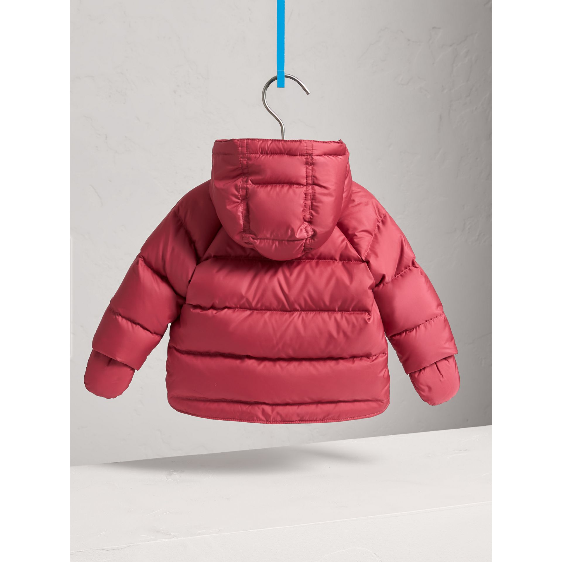 Hooded Down-filled Puffer Jacket with Mittens in Peony Rose | Burberry United Kingdom - gallery image 3