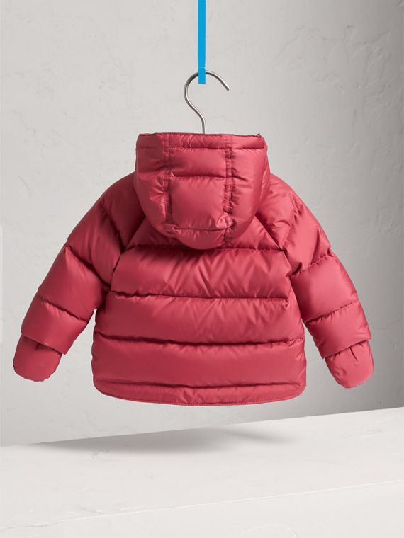 Hooded Down-filled Puffer Jacket with Mittens in Peony Rose | Burberry United States - cell image 3
