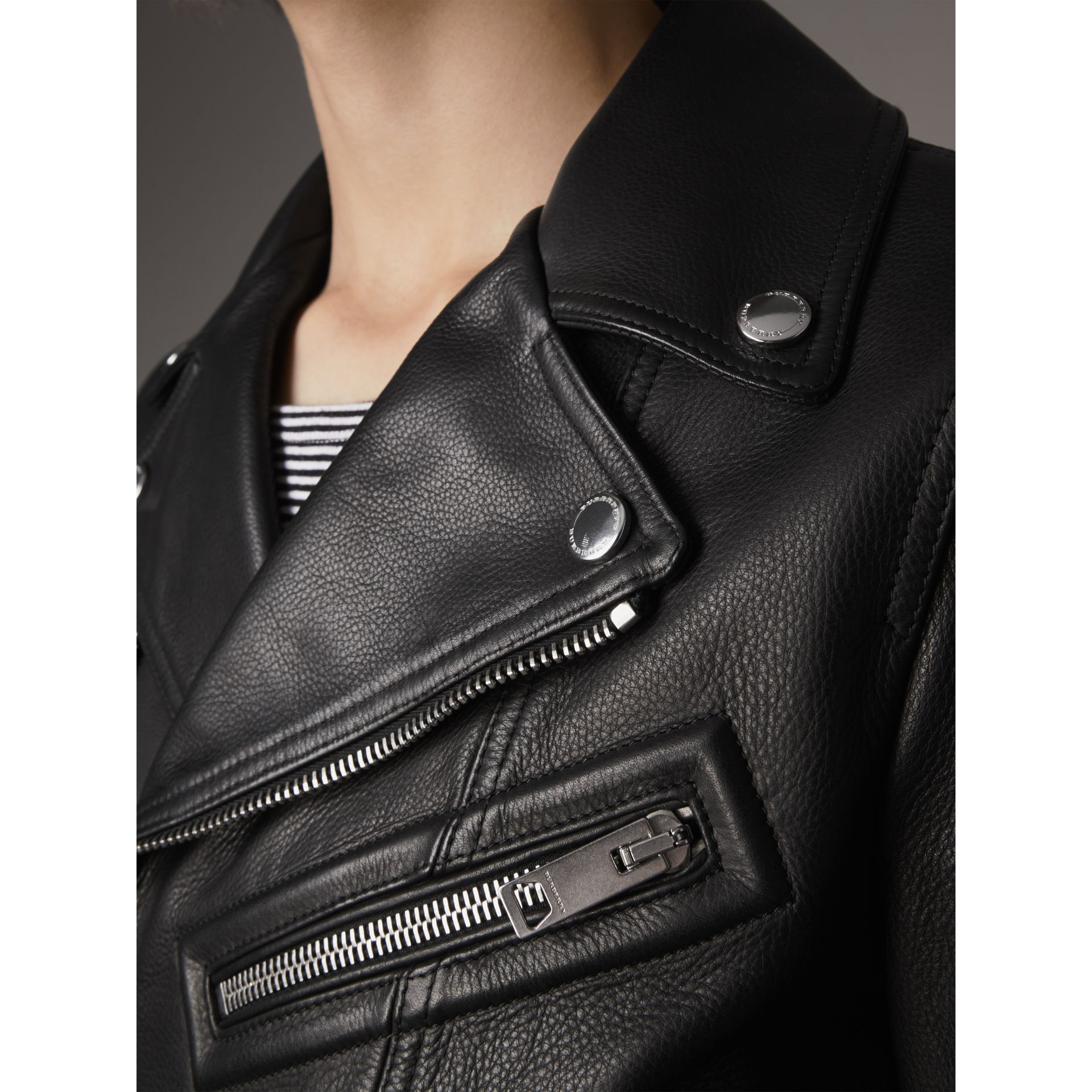 Leather Biker Jacket in Black - Men | Burberry Canada - gallery image 2