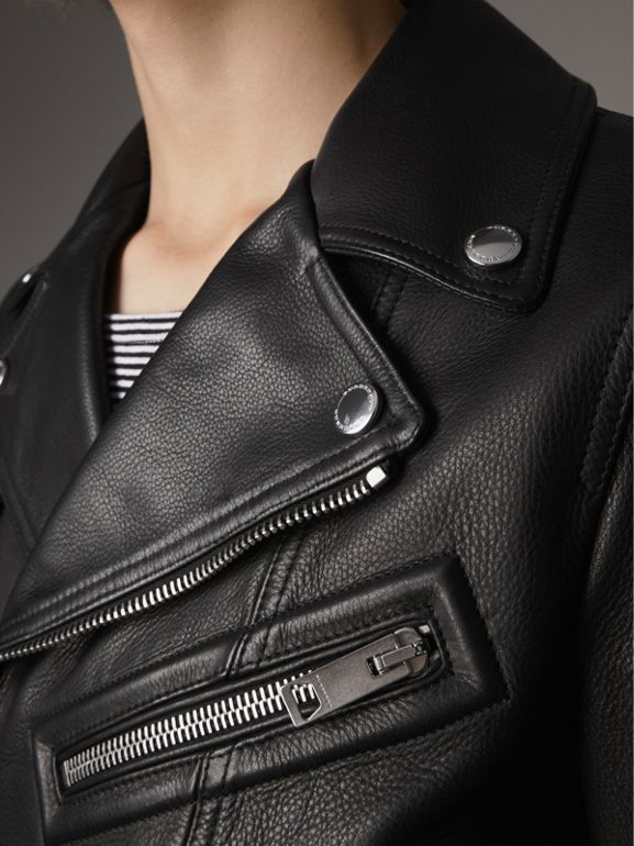 Leather Biker Jacket in Black - Men | Burberry - cell image 1