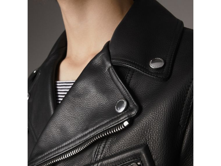 Clean-lined Leather Biker Jacket - Men | Burberry - cell image 1