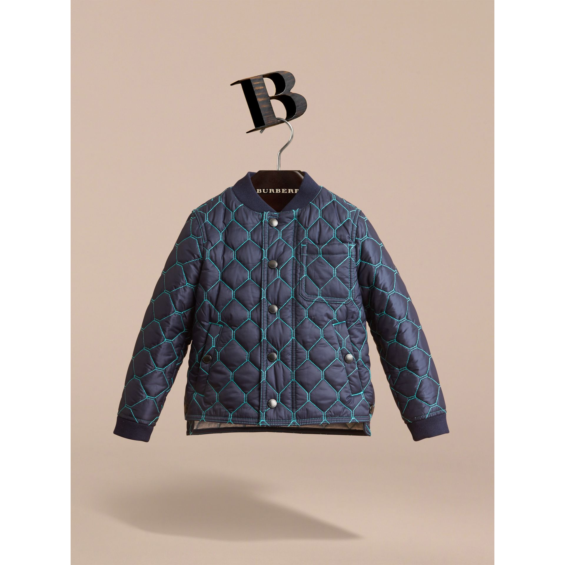 Contrast Topstitch Detail Quilted Jacket in Navy - Boy | Burberry - gallery image 1