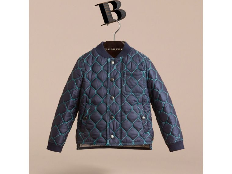 Contrast Topstitch Detail Quilted Jacket in Navy - Boy | Burberry - cell image 1