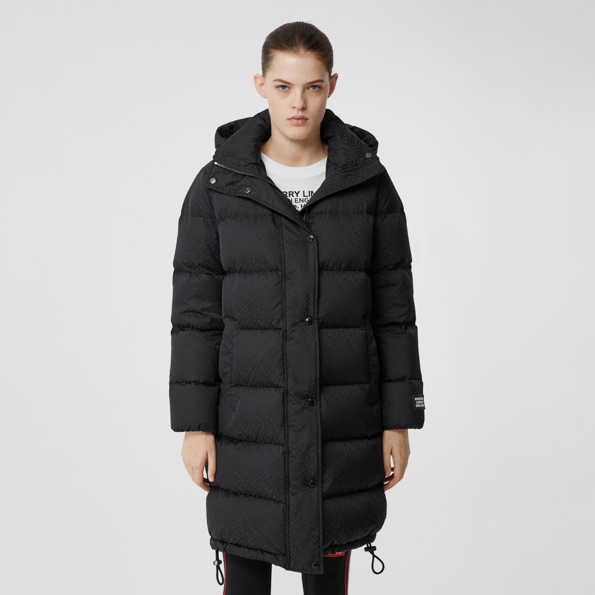 Detachable Hood Monogram ECONYL® Puffer Coat in Black - Women | Burberry - gallery image 6