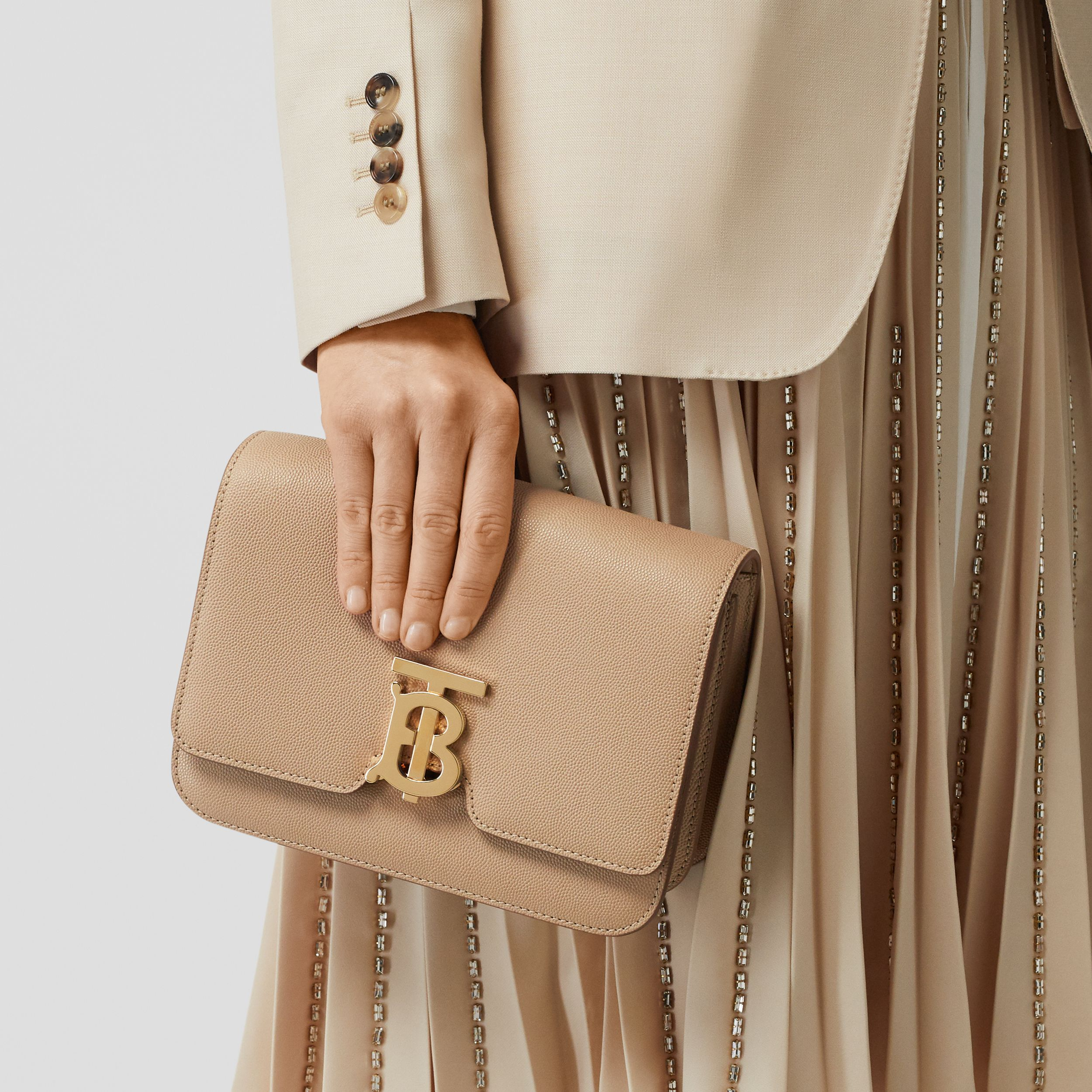 Small Grainy Leather TB Bag in Archive Beige - Women | Burberry - 3