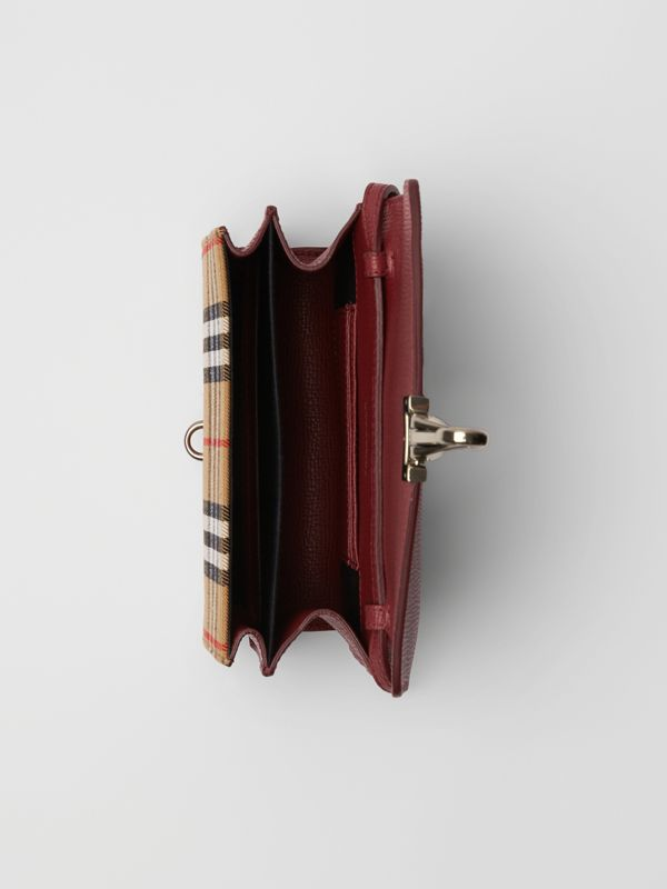 Mini Leather and Vintage Check Crossbody Bag in Crimson - Women | Burberry - cell image 3