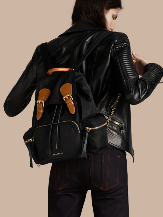 Black The Medium Rucksack in Technical Nylon and Leather Black - cell image 2