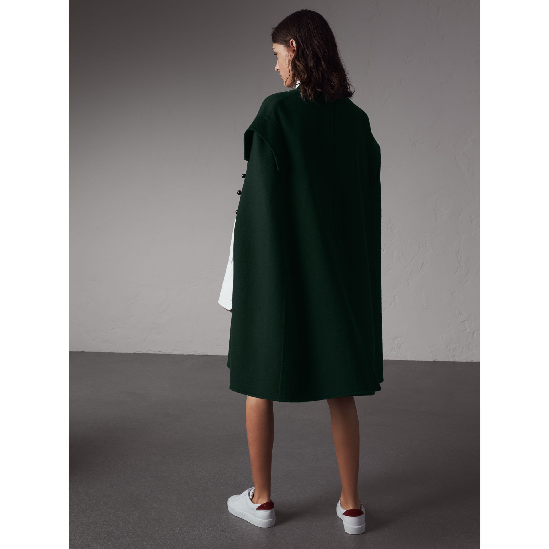 Domed Button Camel Hair Wool Cape - Women | Burberry - gallery image 3