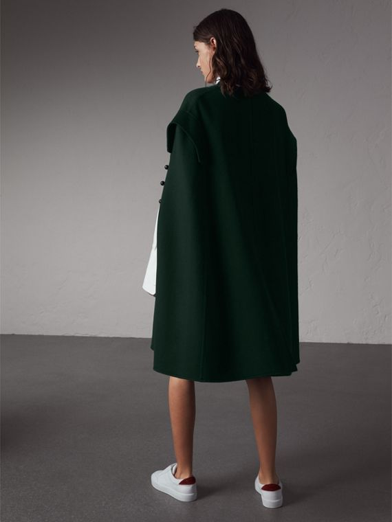 Domed Button Camel Hair Wool Cape in Dark Pewter Blue - Women | Burberry - cell image 2