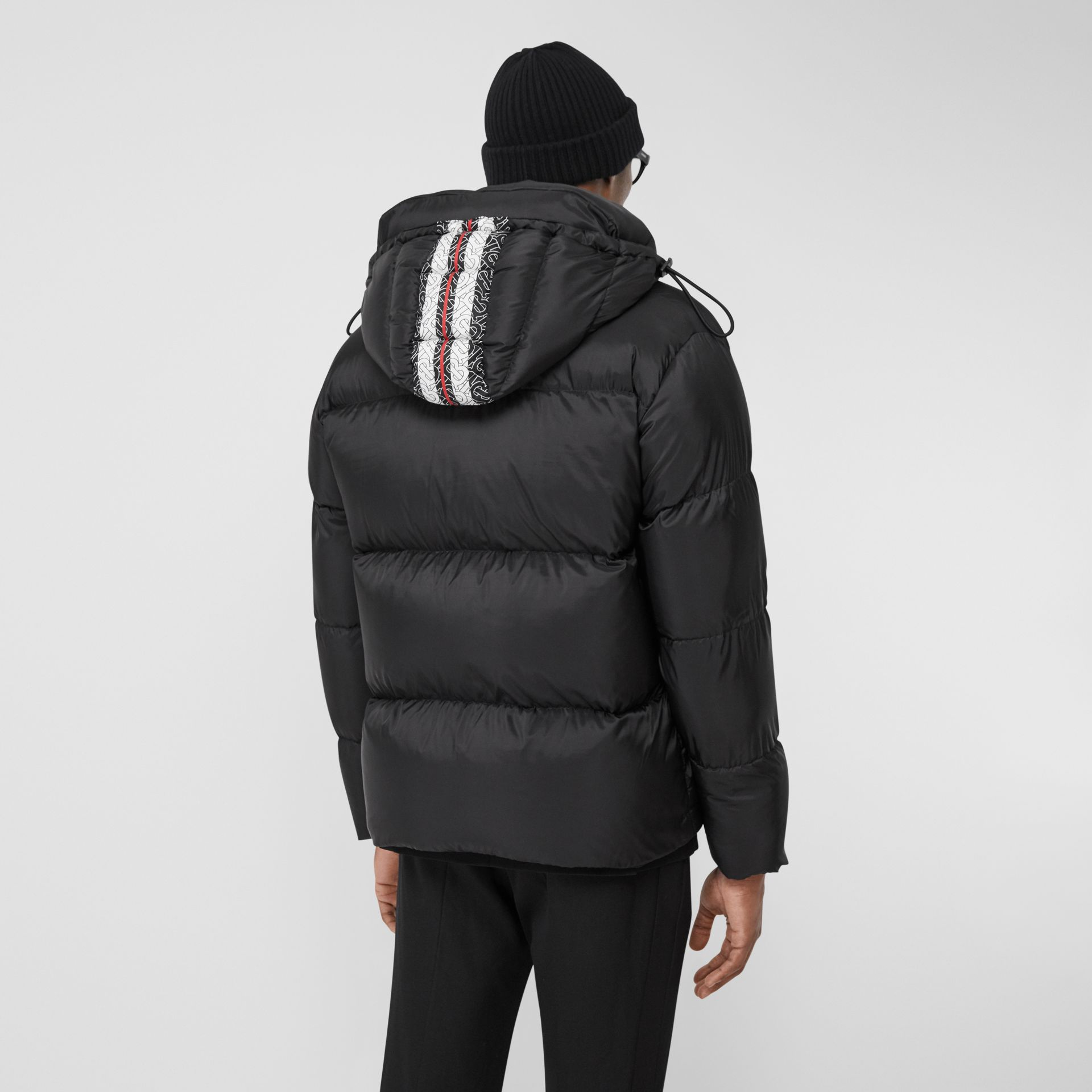 Monogram Stripe Print Puffer Jacket in Black | Burberry - gallery image 2