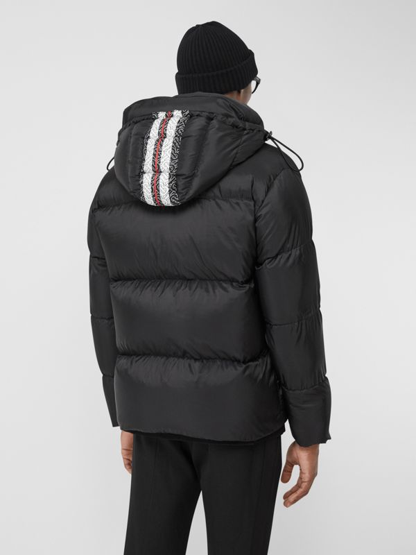 Monogram Stripe Print Puffer Jacket in Black | Burberry - cell image 2