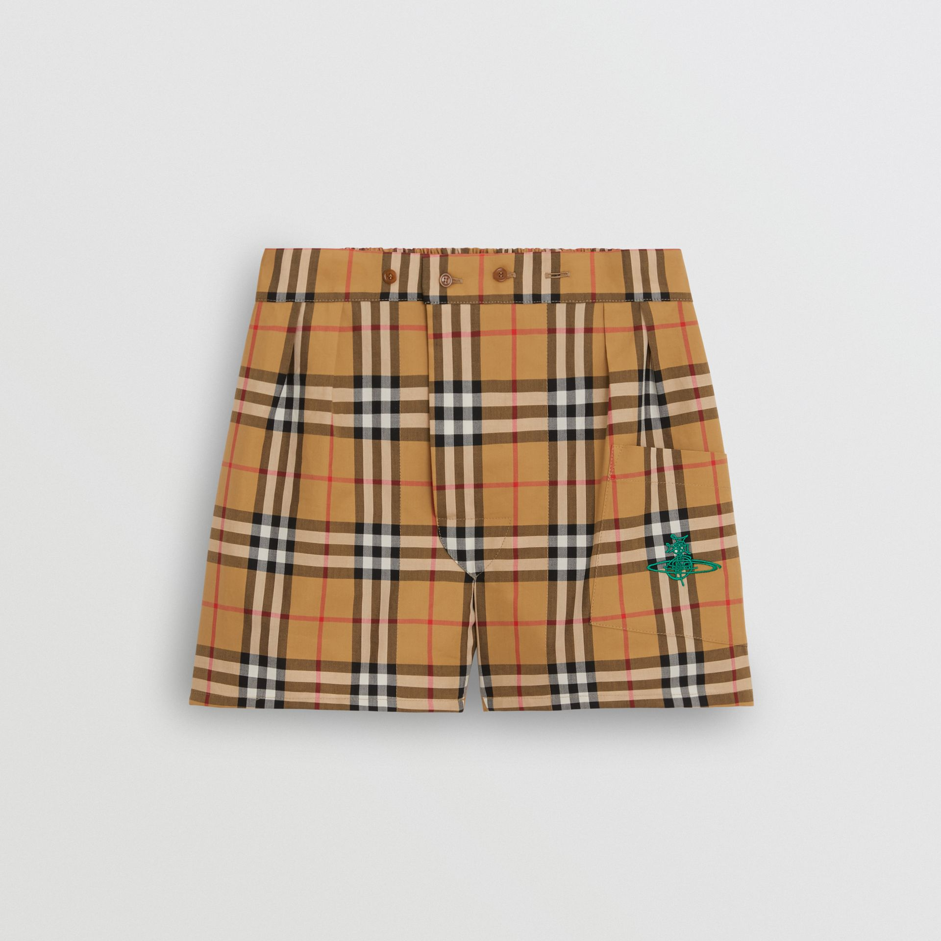 Vintage Check Cotton Boxer Shorts in Antique Yellow | Burberry - gallery image 0