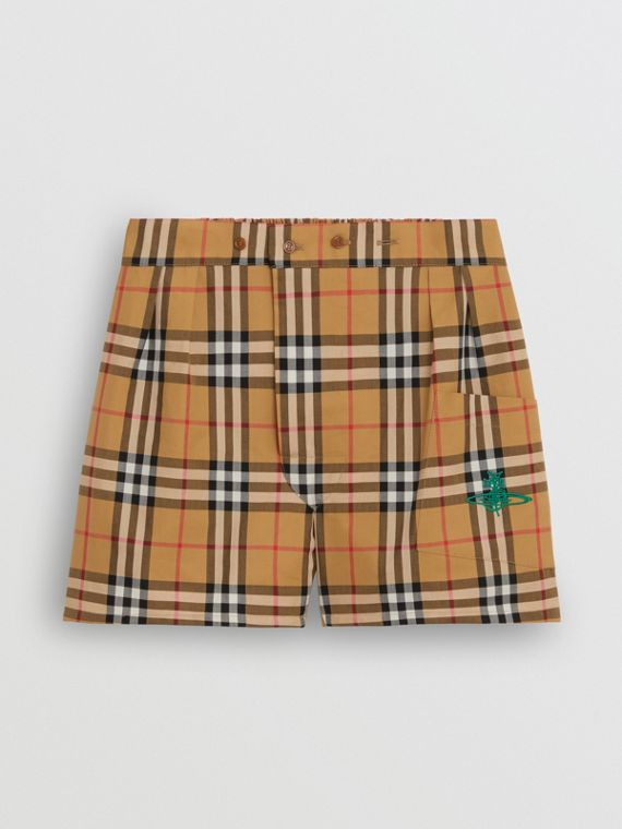 Vintage Check Cotton Boxer Shorts in Antique Yellow
