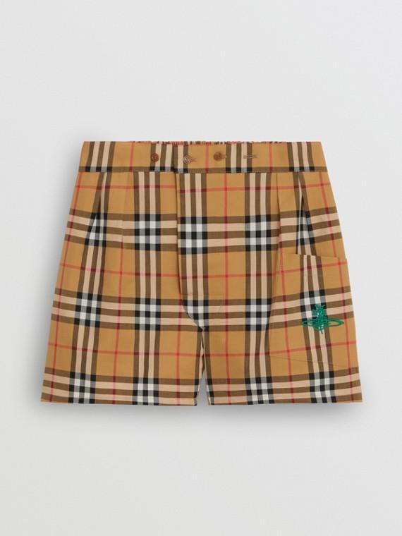 Vintage 格紋棉質平口短褲 (古典黃)