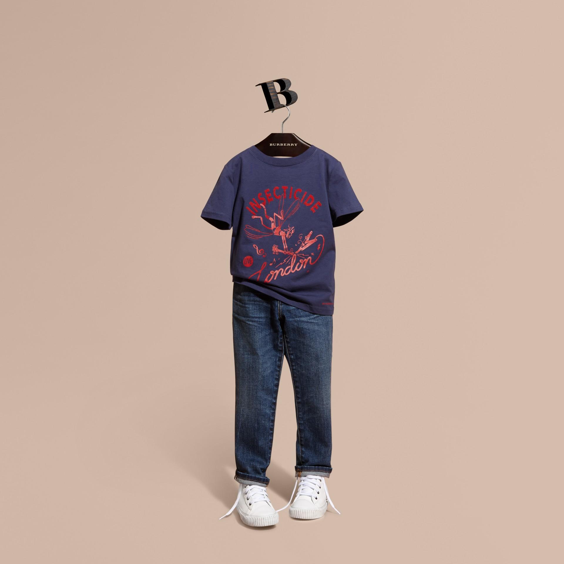 Indigo Baumwoll-T-Shirt mit verspieltem Druckmotiv - Galerie-Bild 1