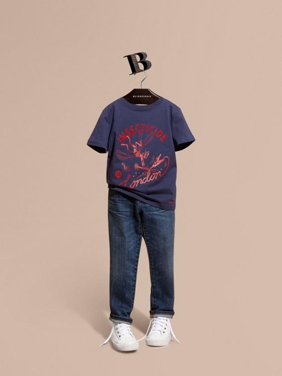 Baumwoll-T-Shirt mit verspieltem Druckmotiv