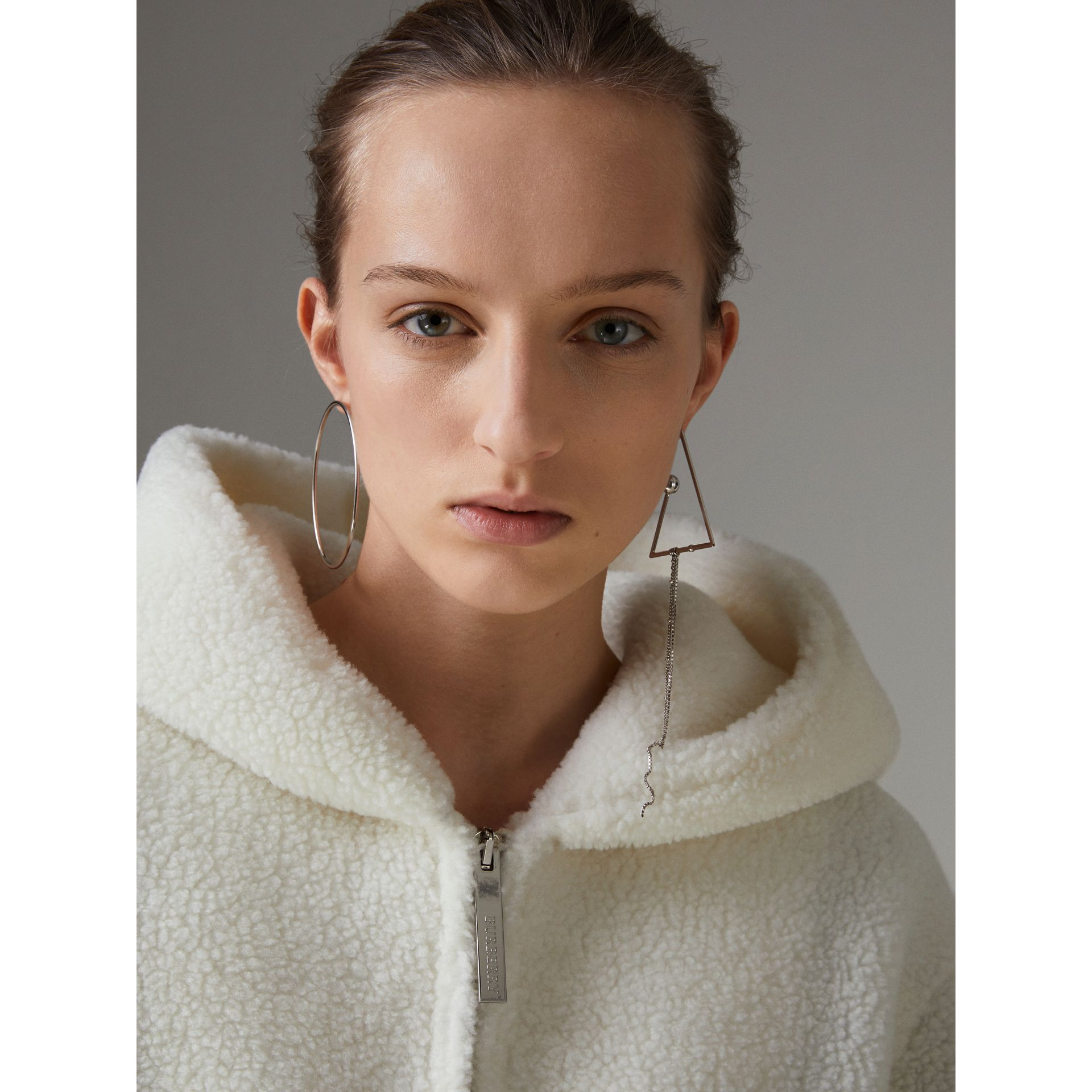 Striped Detail Faux Shearling Hooded Jacket in Off White - Women | Burberry United Kingdom - gallery image 5