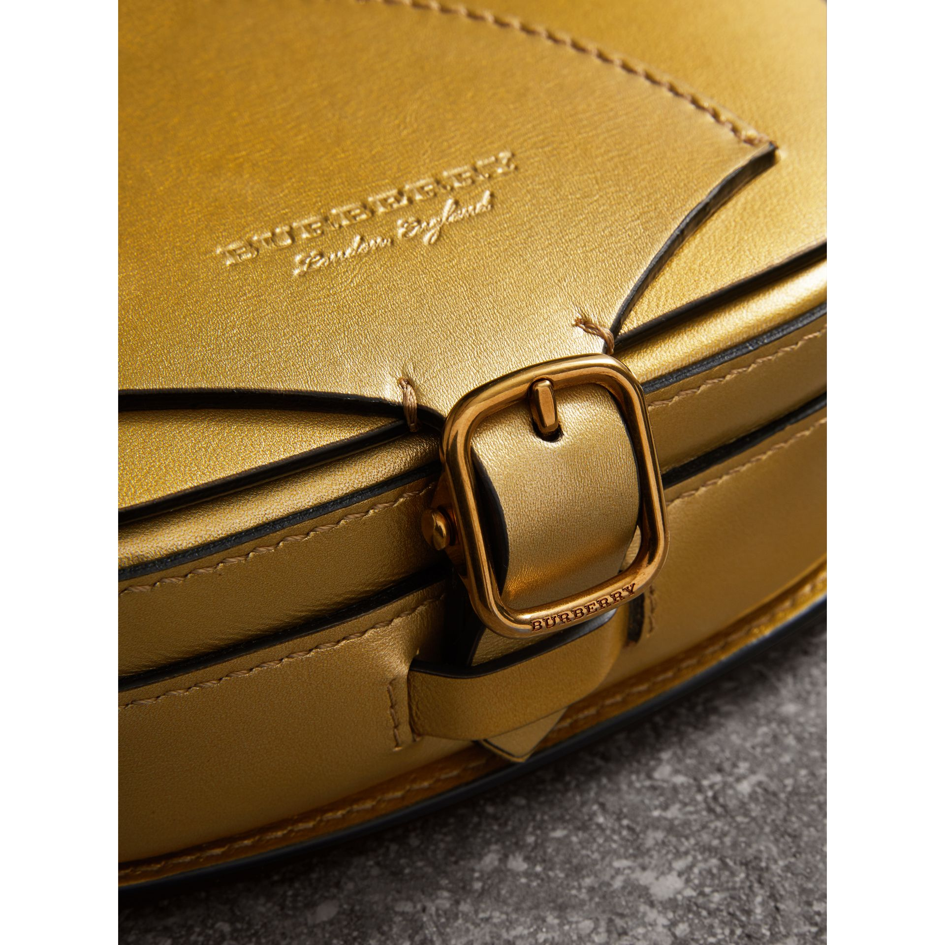 The Satchel in Metallic Leather in Gold - Women | Burberry United Kingdom - gallery image 1