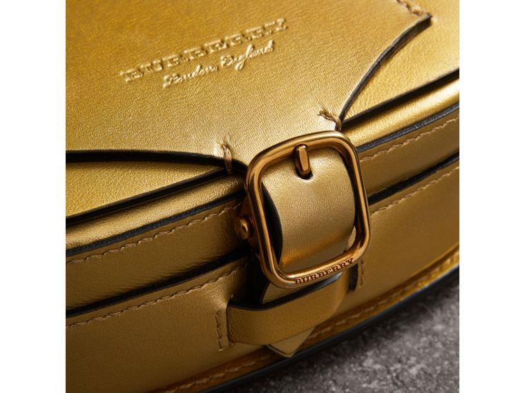 The Satchel in Metallic Leather in Gold - Women | Burberry Australia - cell image 1