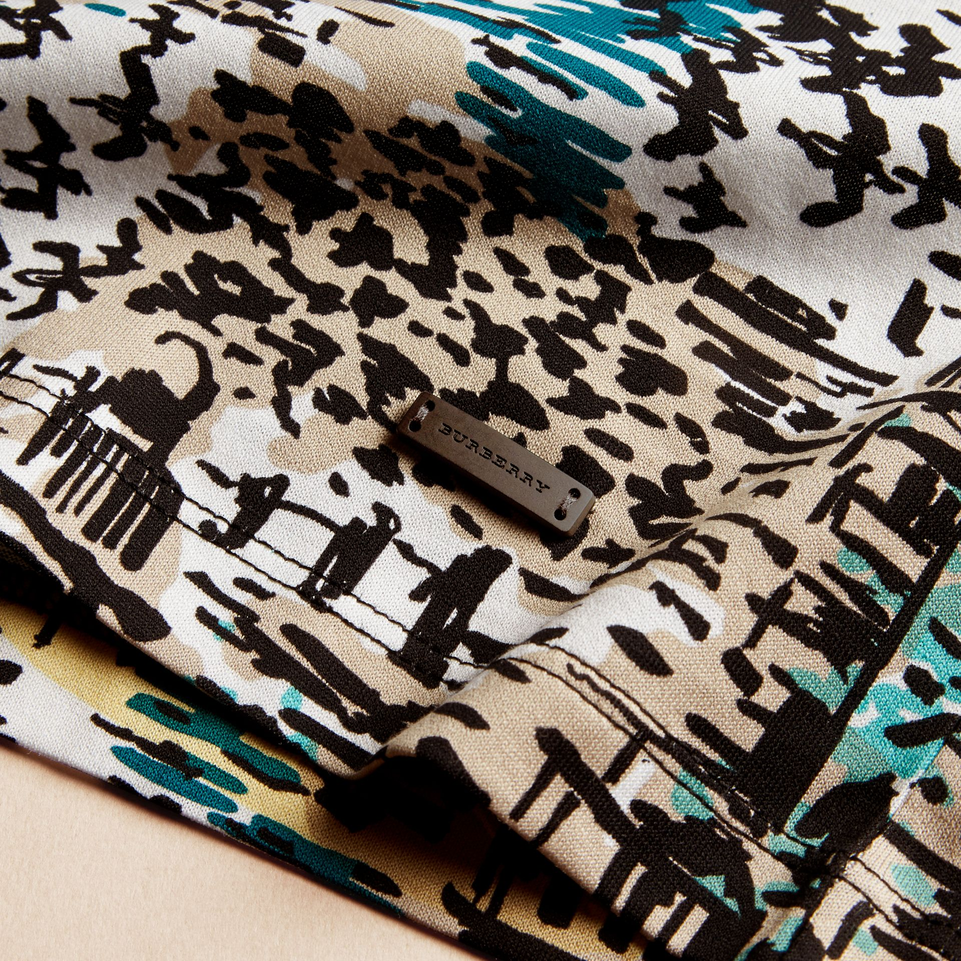 British Seaside Print Cotton T-shirt Aqua Green - gallery image 2