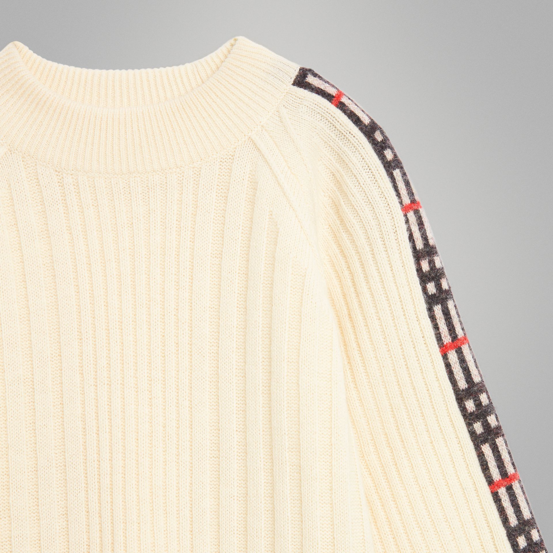 Check Detail Wool Cashmere Sweater in Ivory | Burberry Hong Kong - gallery image 4