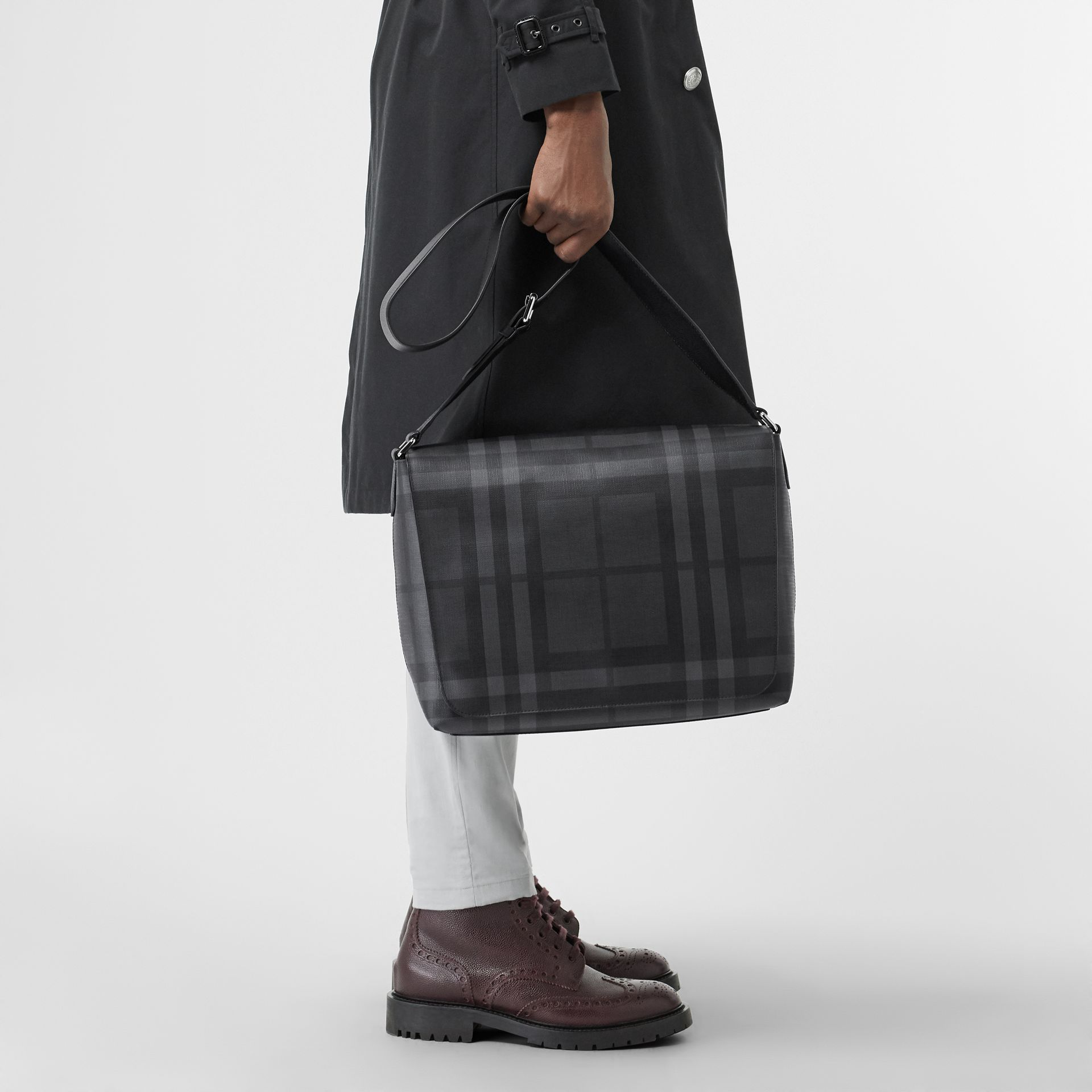 Large London Check Messenger Bag in Charcoal/black | Burberry - gallery image 2