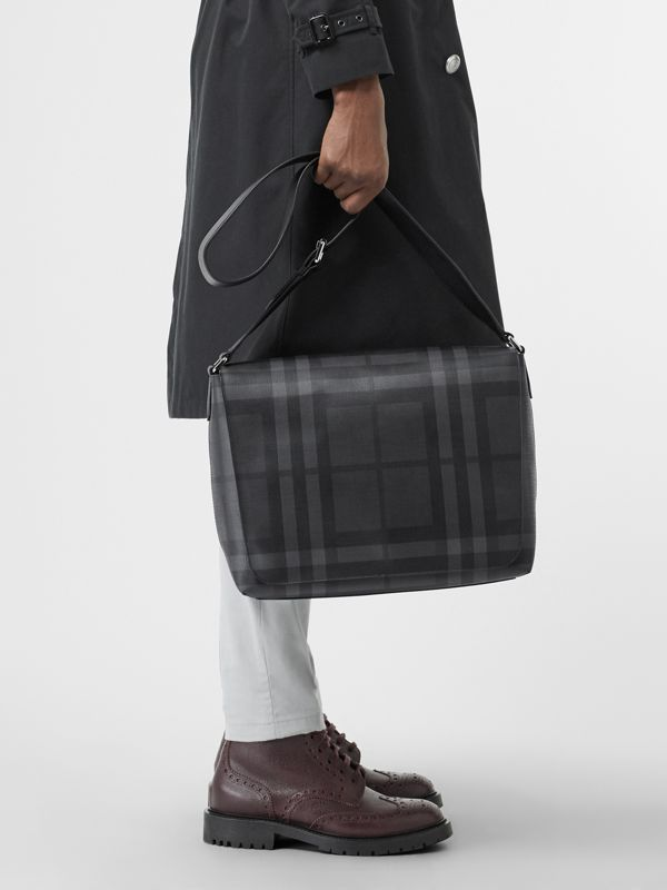 Large London Check Messenger Bag in Charcoal/black | Burberry - cell image 2
