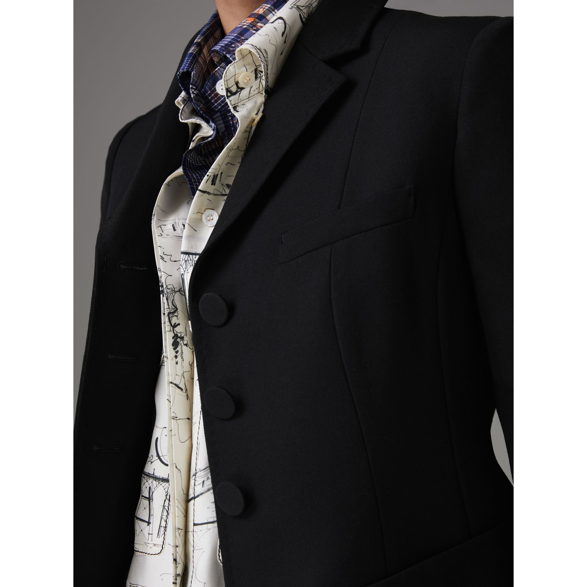Wool Twill Tailored Jacket in Black - Women | Burberry United Kingdom - gallery image 1